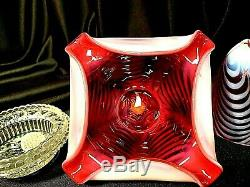 Fenton Cranberry Swirl Feather 3 Piece Fairy Lamp With Satin Opalescent Glass