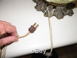 Fenton Custard Burmese Satin Embossed Floral Gwtw Table Lamp 22 1/2 2 Way