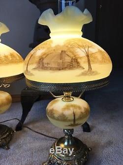 Fenton Custard Log Cabin Lamps