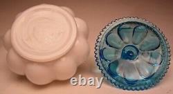 Fenton Dark Aqua Crest 6 Piece Melon Vanity Perfume Cologne Set made 1940-1942