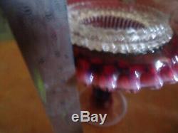 Fenton Dark Plum Hobnail Opalescent 3 piece Fariy Lamp with sticker & Logo