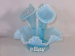Fenton Diamond Lace Horn Blue Opalescent Epergne