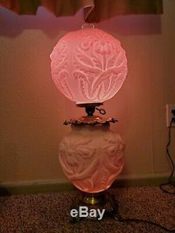Fenton Double Globe Gone With the Wind Lamp Pink Cased Milk Glass