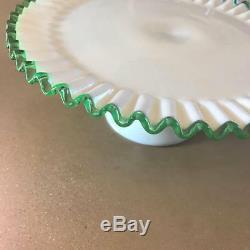 Fenton Emerald Crest Cake Plate, Vintage 1950s Fenton Milk Glass Cake Stand Rare