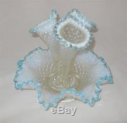 Fenton Epergne Aqua Blue Opalescent Diamond Lace 3 Horn