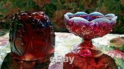 Fenton Fairy Lamp Light Plum Carnival Opalescent Figurine Lily Valley Candle