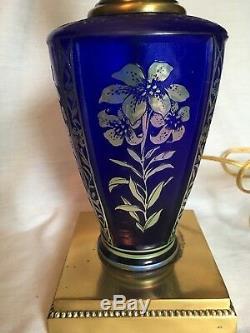 Fenton Favrene Lamp Cobalt Blue Silver Flowers Table Lamp Light