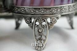 Fenton Glass Angel Cherub/cupid Double Fairy Light Lamp Aubergine Opal Swirl