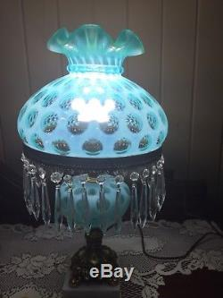 Fenton Glass Aqua Blue Opalescent Coindot Lamp! Beautiful
