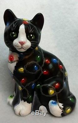 Fenton Glass Black Tuxedo Cat Christmas Lights Adorable OOAK by CC Hardman