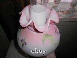 Fenton Glass Burmese Lamp student blue with flowers Excellent