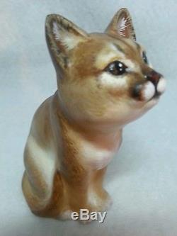 Fenton Glass Curious Cat Mountain Lion Cougar Exotic Gorgeous OOAK by CC Hardman