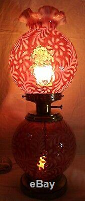 Fenton Glass Daisy & Fern Cranberry Opalescent Gone With The Wind Lamp