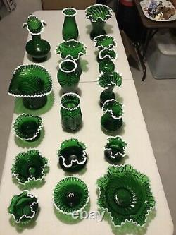 Fenton Glass, Emerald Green Snow Crest