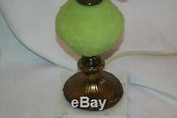 Fenton Glass Green Vaseline Poppy Gone With The Wind Student Table Lamp