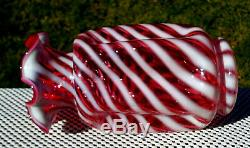 Fenton Glass Vintage Cranberry Opalescent Spiral Optic Ruffled Pinch Vase 8.5H