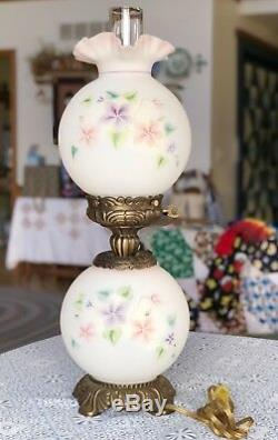 Fenton Gone With The Wind Lamp Hand Painted Flowers 21