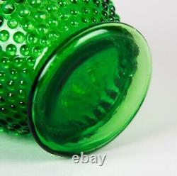 Fenton Green Opalescent Hobnail Large Crimped Vase 8 Vintage Glass c. 1940's