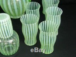 Fenton Green Opalescent Optic Art Glass Pitcher 12 Cups Night Cap Set Excellent