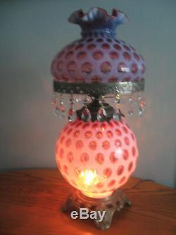 Fenton Gwtw Cranberry Opalescent Coin Dot Prisms 3 Way Lighting Parlor Lamp