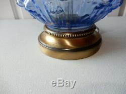 Fenton Gwtw Hurricane Lamp Brass Base Blue Cabbage Rose Pattern