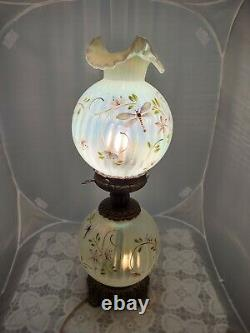 Fenton Gwtw Lamp Lily Trails Topaz Opalescent Vaseline Hand-painted