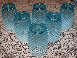 Fenton HOBNAIL Blue Opalescent Pitcher & 6 Tumbler Set Lot