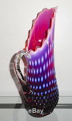 Fenton HOBNAIL Plum Opalescent 13.5 Pitcher Vase