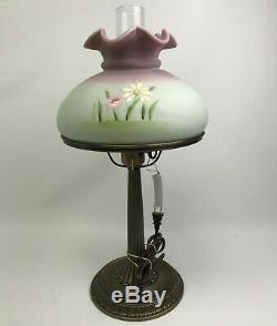 Fenton Hand-Painted Glass Lamp Shade with Flower Design, Signed