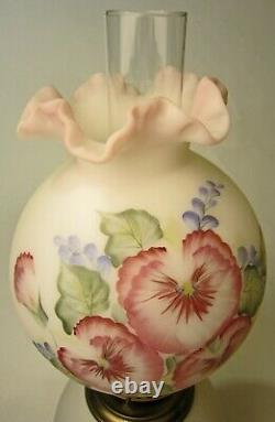 Fenton Hand Painted Pansy Flowers GTW Gone with the Wind Lamp #2791 White Satin