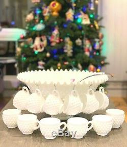 Fenton Hobnail Milk Glass Ruffled Punch Bowl 12 Cups Glass Ladle NOS