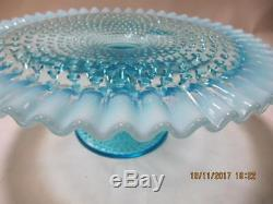 Fenton Hobnail Ruffled Opalescent Crest Aqua Pedestal Cake Stand Plate