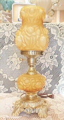 Fenton Honey Amber Embossed Overlay Lamp -GTC ad1
