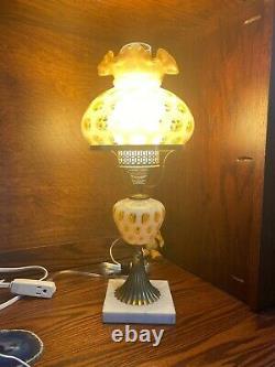 Fenton Honeysuckle Coin Dot Optic Student Lamp Marble Base
