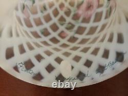 Fenton Hurricane Candle Holder Lamp Hand Painted Trellis Lattice Shade