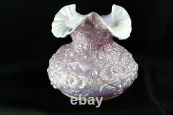 Fenton Iridized Pink Poppy Cased Pearl White Lamp Shade 7 Fitter