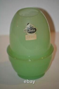 Fenton Jade 2 Piece Fairy Lamp Light 4 1/2 Tall Glass Jadeite