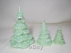 Fenton Jadeite Opalescent Set of 3 Christmas Trees Limited Series