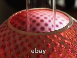 Fenton LG WRIGHT LAMP Cranberry Opalescent Baby Coin Dot Made in the USA