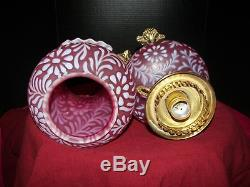 Fenton L. G. Wright Dora Lee Lamp in Cranberry Satin Glass with Fern Decoration