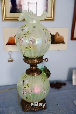 Fenton Lamp GWTW Lily Trails Optic Topaz Opalescent Vaseline Hand-painted 2001