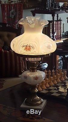 Fenton Lamp Victorian Student Iridescent Opalescent Heart & Roses Brass & Marble