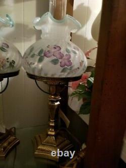 Fenton Lamp sea foam green purple flowers Lamp 20'' tall excellent