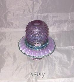Fenton Lavender Pink Green Carnival Glass Hobnail 3 Piece Fairy Lamp