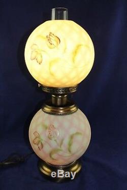 Fenton Lotus Mist Burmese Diamond Optic Trellis Flowers GWTW Lamp J. K. Spindler