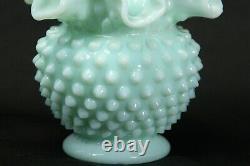 Fenton Mint Green Hobnail Milk Glass Ruffled Ball Vase 4.5
