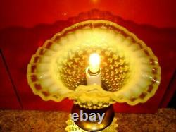 Fenton Old Topaz-vaseline Glass Opalescent Hobnail Lamp #1