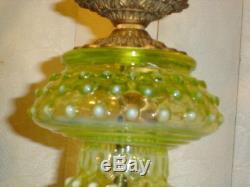 Fenton Old Topaz-vaseline Glass Opalescent Hobnail Lamp(1-2)