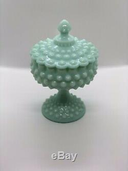 Fenton Pastel Green Milk Glass Hobnail Covered Candy Dish