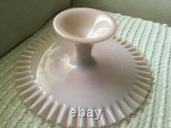 Fenton Pastel Pink fluted glass Silver Crest cake stand